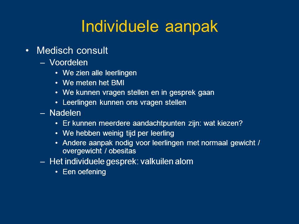 Individuele aanpak Medisch consult Voordelen Nadelen