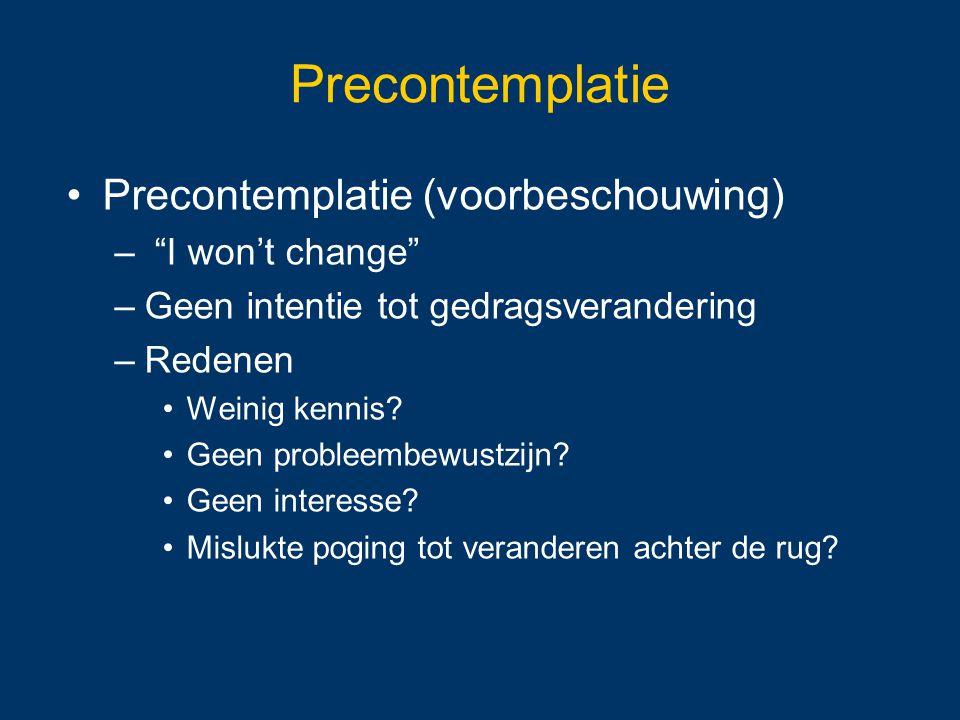 Precontemplatie Precontemplatie (voorbeschouwing) I won't change