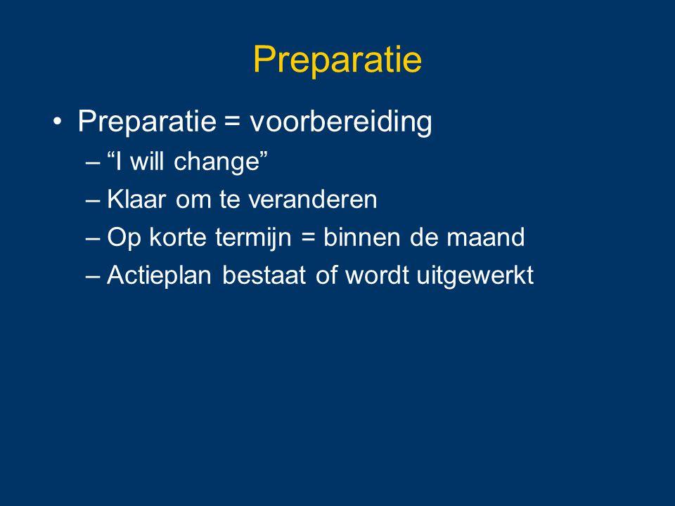 Preparatie Preparatie = voorbereiding I will change
