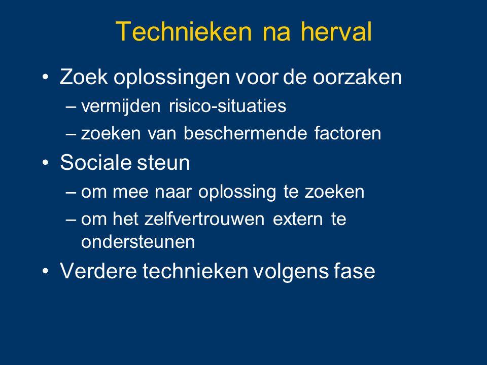 Technieken na herval Zoek oplossingen voor de oorzaken Sociale steun
