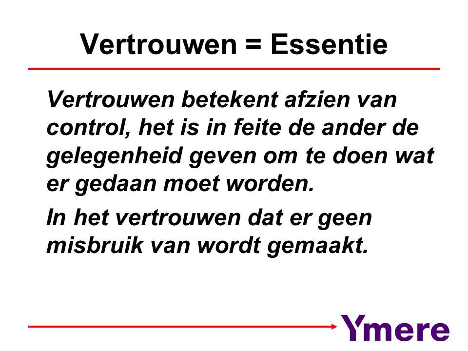 Vertrouwen = Essentie Vertrouwen betekent afzien van control, het is in feite de ander de gelegenheid geven om te doen wat er gedaan moet worden.