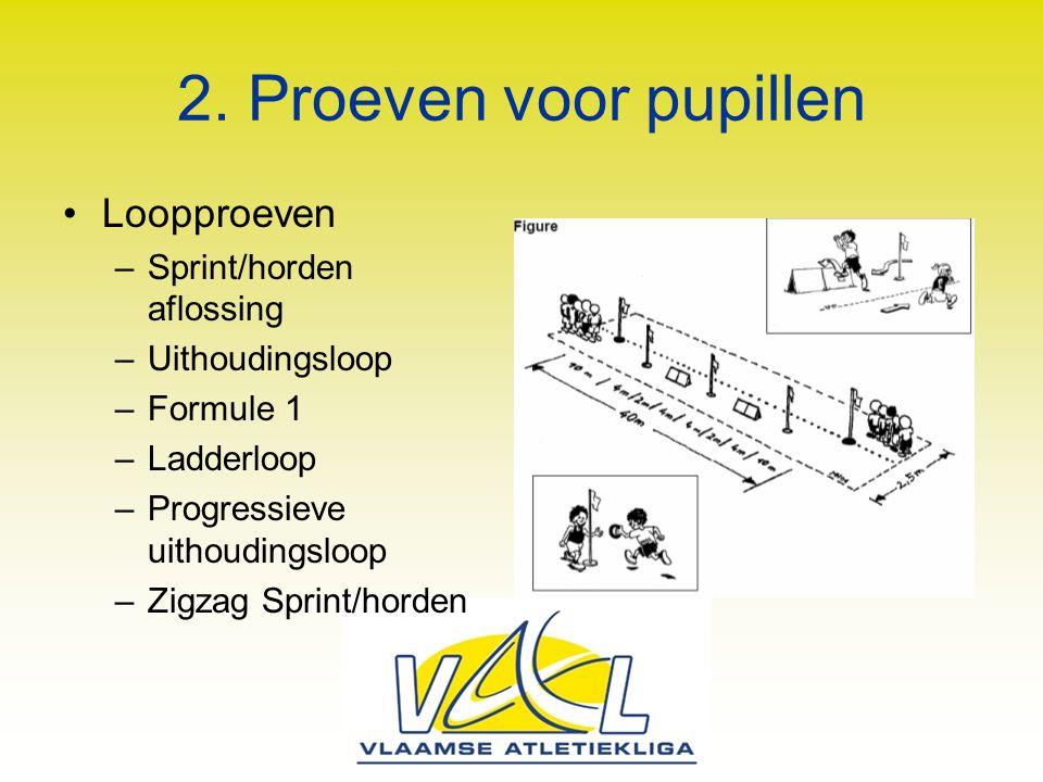 2. Proeven voor pupillen Loopproeven Sprint/horden aflossing