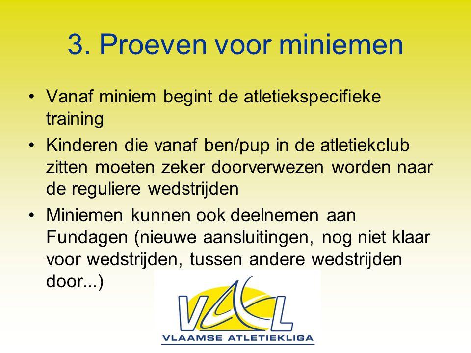 3. Proeven voor miniemen Vanaf miniem begint de atletiekspecifieke training.