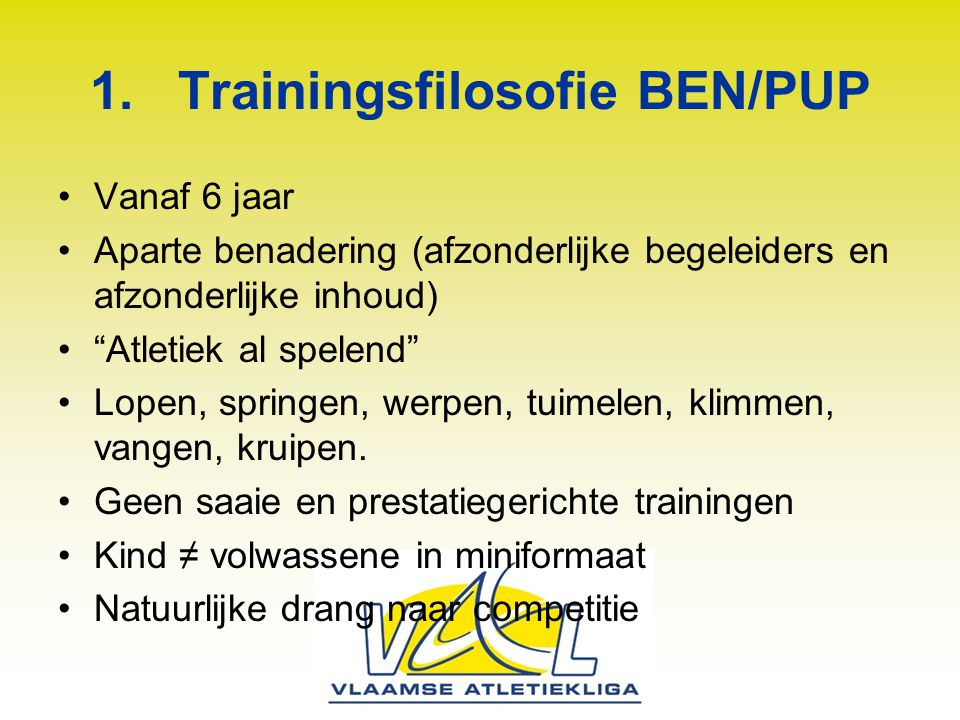 Trainingsfilosofie BEN/PUP