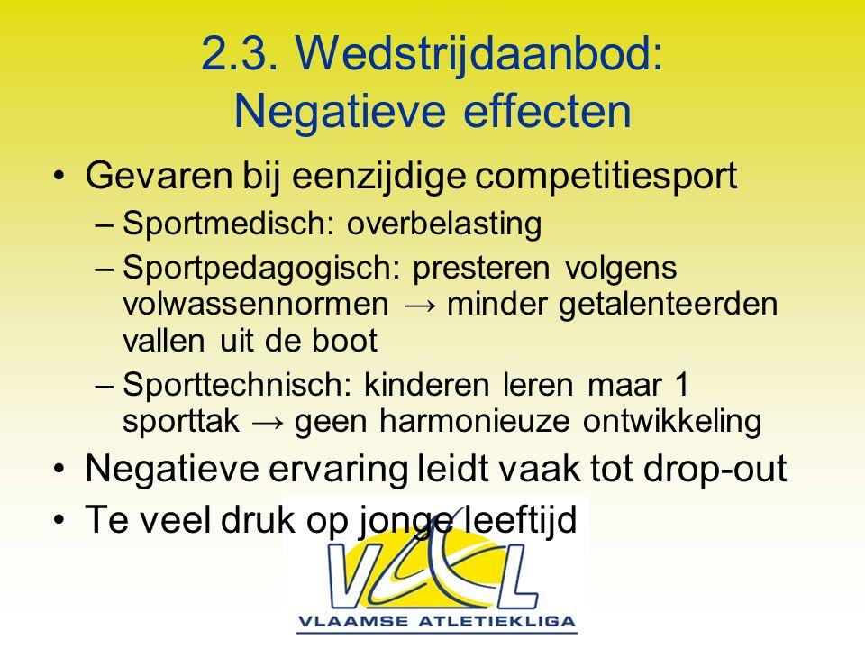 2.3. Wedstrijdaanbod: Negatieve effecten