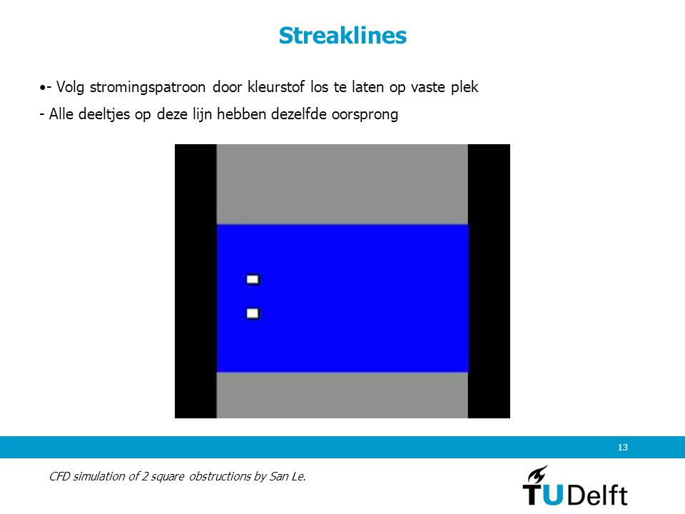 Streaklines - Volg stromingspatroon door kleurstof los te laten op vaste plek. - Alle deeltjes op deze lijn hebben dezelfde oorsprong.