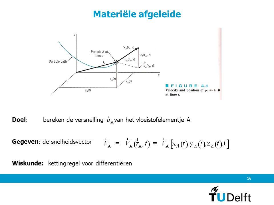 Materiële afgeleide A. Doel: bereken de versnelling van het vloeistofelementje A. Gegeven: de snelheidsvector.