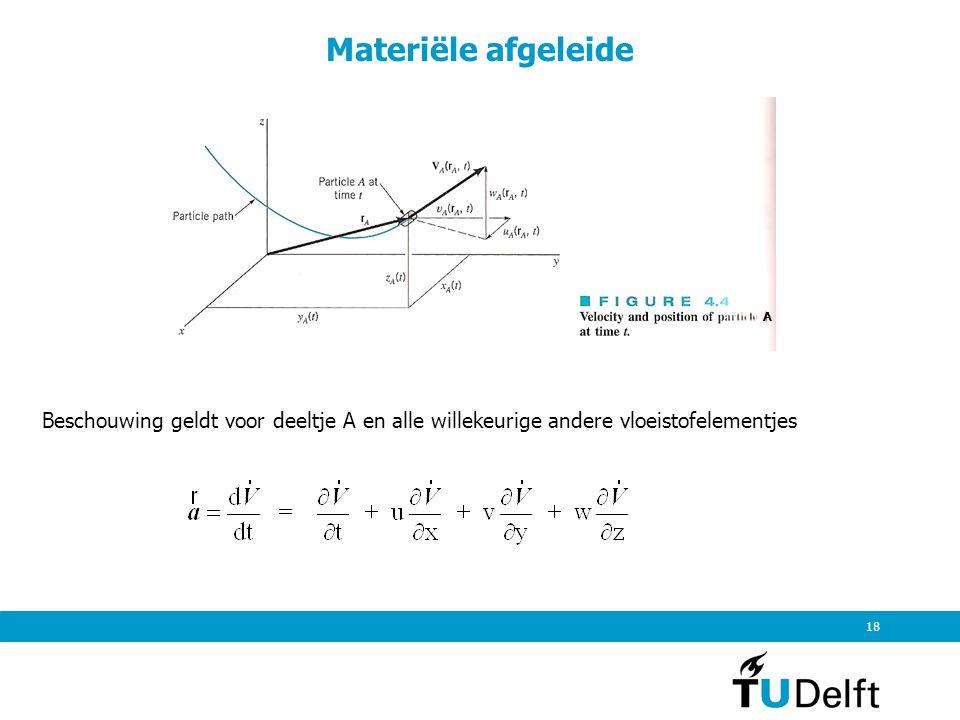 Materiële afgeleide A. Beschouwing geldt voor deeltje A en alle willekeurige andere vloeistofelementjes.