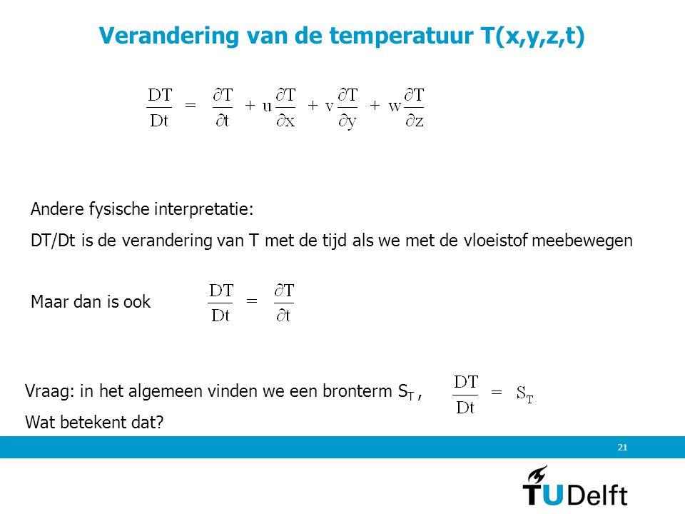 Verandering van de temperatuur T(x,y,z,t)