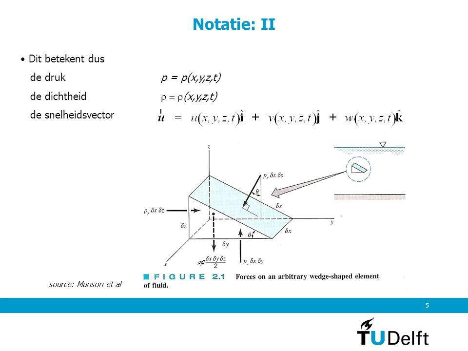 Notatie: II Dit betekent dus de druk p = p(x,y,z,t)