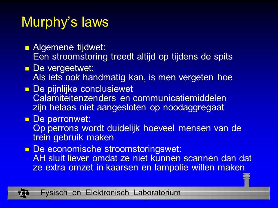 Murphy's laws Algemene tijdwet: Een stroomstoring treedt altijd op tijdens de spits.