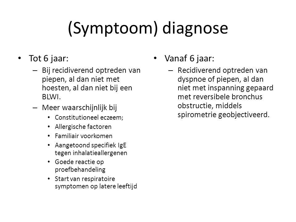(Symptoom) diagnose Tot 6 jaar: Vanaf 6 jaar: