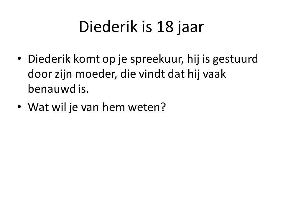 Diederik is 18 jaar Diederik komt op je spreekuur, hij is gestuurd door zijn moeder, die vindt dat hij vaak benauwd is.