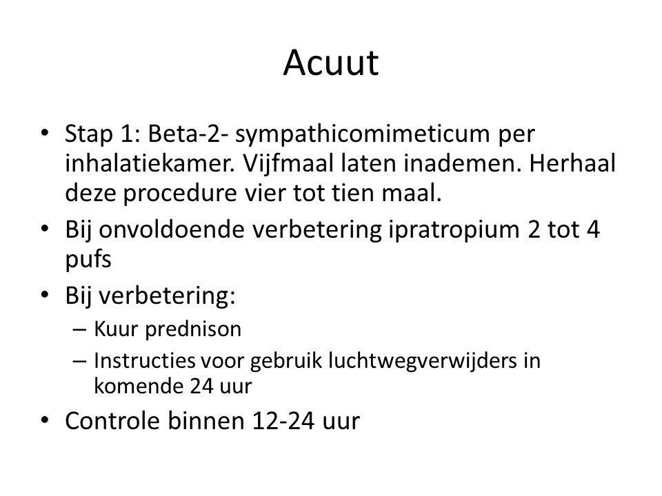 Acuut Stap 1: Beta-2- sympathicomimeticum per inhalatiekamer. Vijfmaal laten inademen. Herhaal deze procedure vier tot tien maal.