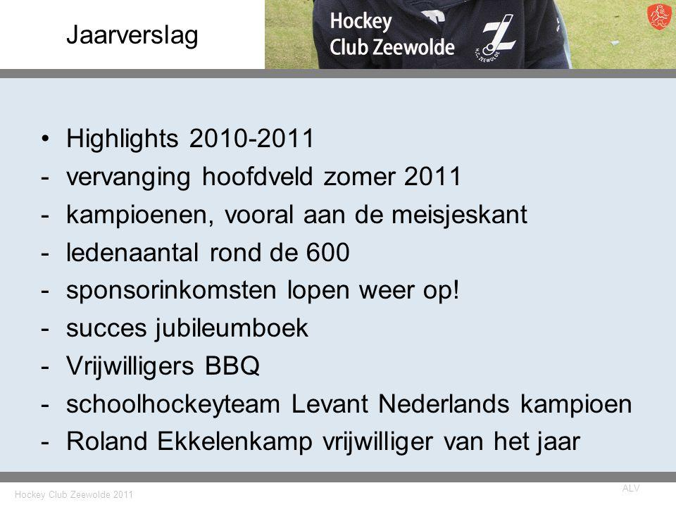 Jaarverslag Highlights 2010-2011. vervanging hoofdveld zomer 2011. kampioenen, vooral aan de meisjeskant.