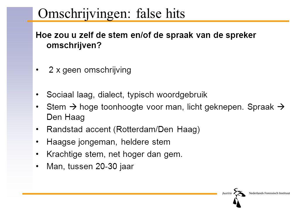 Omschrijvingen: false hits