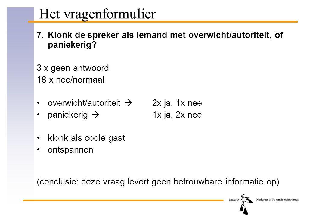 Het vragenformulier 7. Klonk de spreker als iemand met overwicht/autoriteit, of paniekerig 3 x geen antwoord.