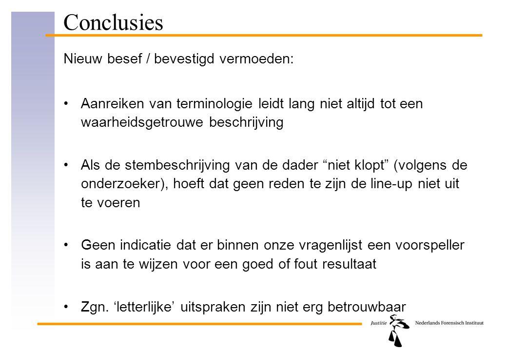 Conclusies Nieuw besef / bevestigd vermoeden: