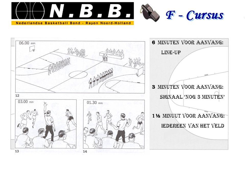 6 minuten voor aanvang: Line-up. 3 minuten voor aanvang: signaal 'nog 3 minuten' 1½ minuut voor aanvang: