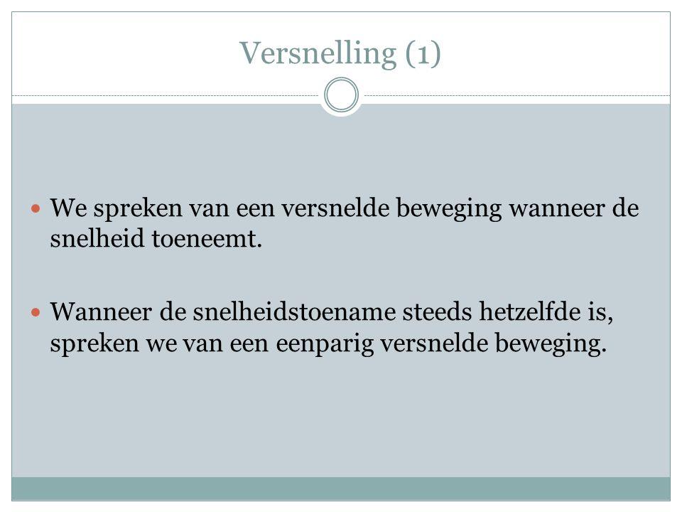 Versnelling (1) We spreken van een versnelde beweging wanneer de snelheid toeneemt.