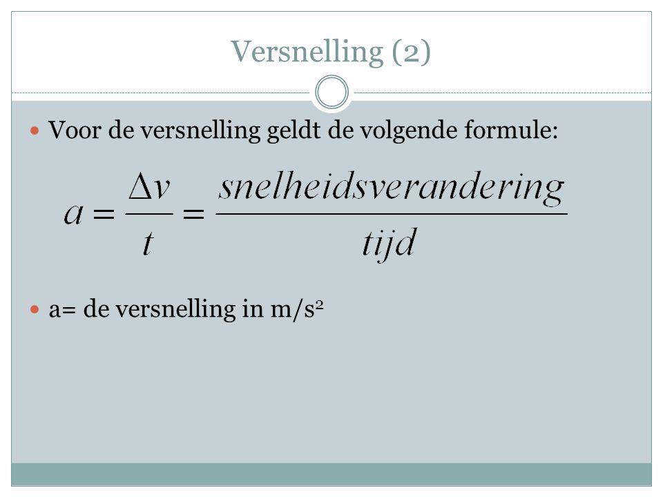 Versnelling (2) Voor de versnelling geldt de volgende formule: