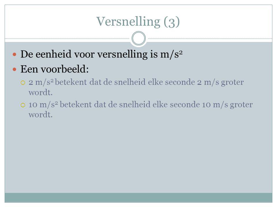 Versnelling (3) De eenheid voor versnelling is m/s2 Een voorbeeld: