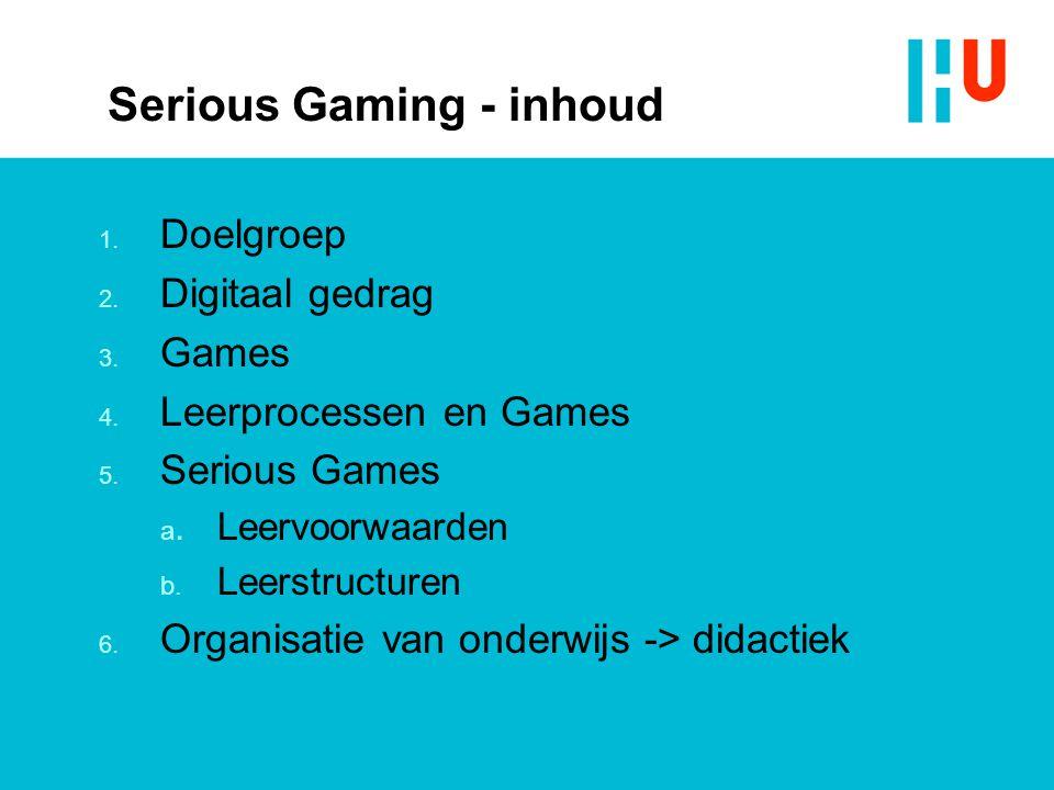 Serious Gaming - inhoud