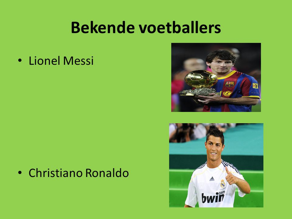 Bekende voetballers Lionel Messi Christiano Ronaldo