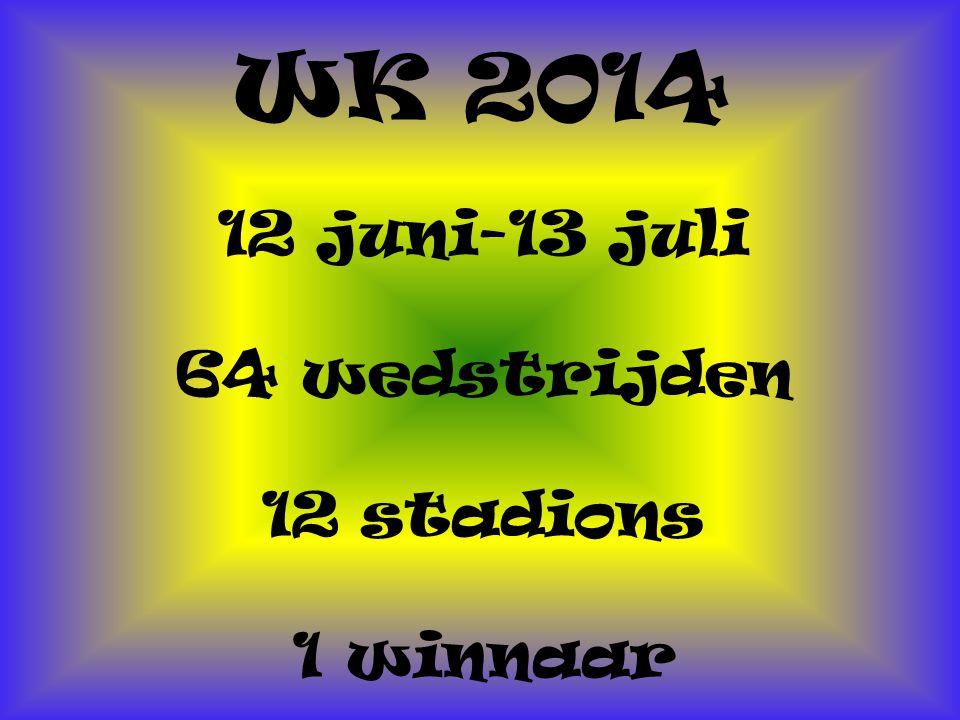 WK 2014 12 juni-13 juli 64 wedstrijden 12 stadions 1 winnaar