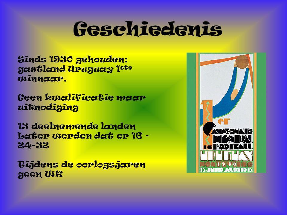 Geschiedenis Sinds 1930 gehouden: gastland Uruguay 1ste winnaar.