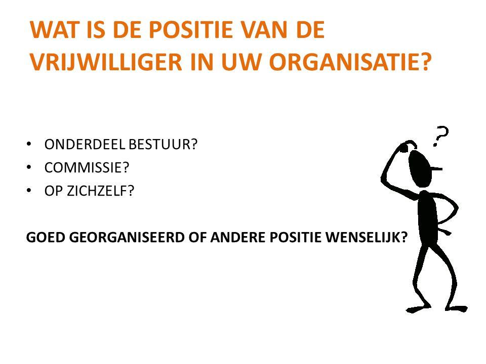 Wat is de positie van de vrijwilliger in uw organisatie