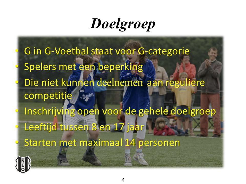 Doelgroep G in G-Voetbal staat voor G-categorie