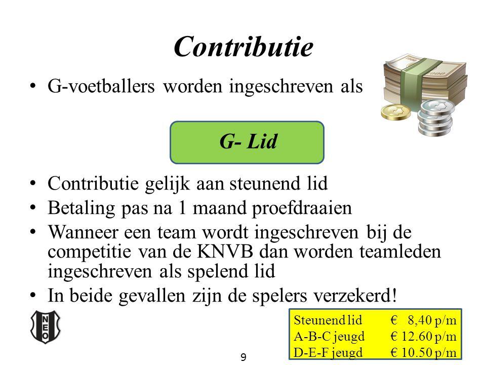 Contributie G- Lid G-voetballers worden ingeschreven als