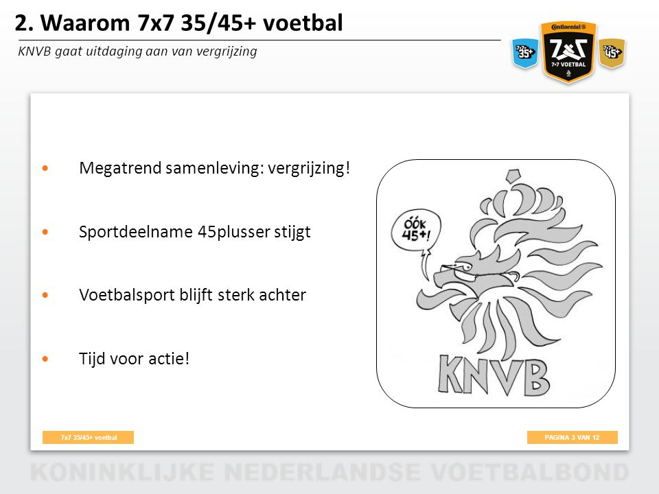2. Waarom 7x7 35/45+ voetbal Megatrend samenleving: vergrijzing!