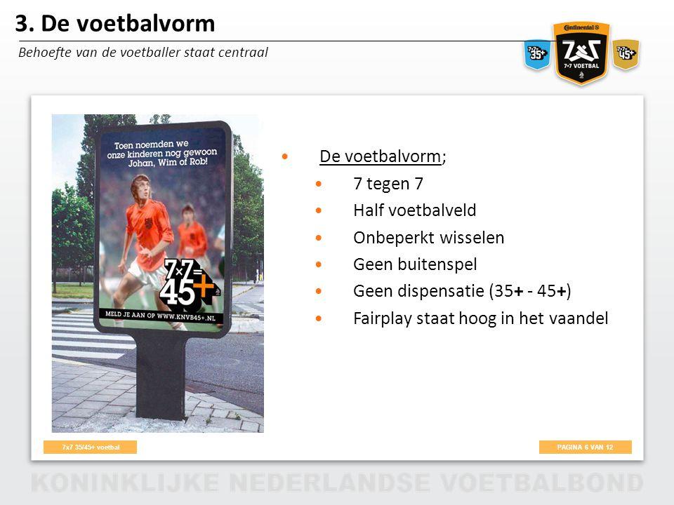 3. De voetbalvorm De voetbalvorm; 7 tegen 7 Half voetbalveld