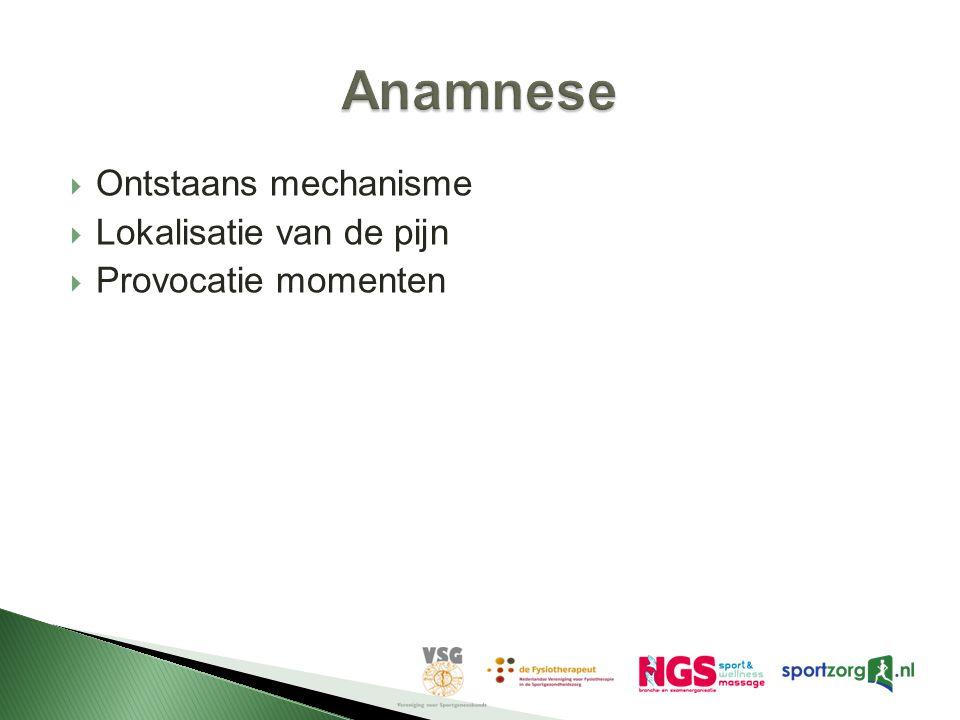 Anamnese Ontstaans mechanisme Lokalisatie van de pijn