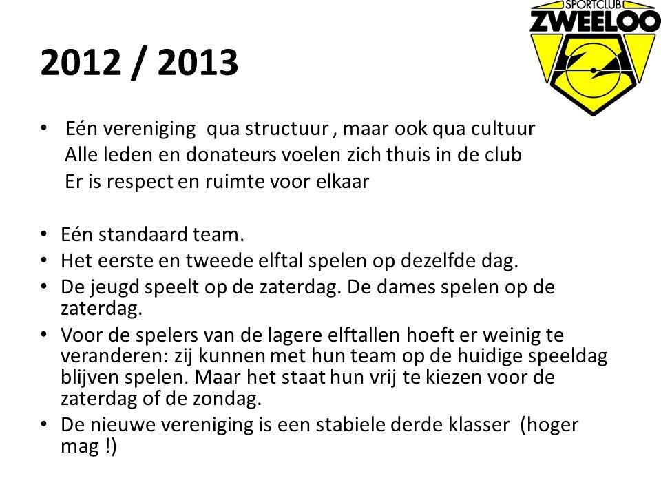 2012 / 2013 Eén vereniging qua structuur , maar ook qua cultuur
