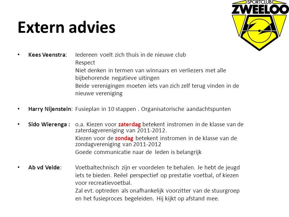 Extern advies Kees Veenstra: Iedereen voelt zich thuis in de nieuwe club. Respect. Niet denken in termen van winnaars en verliezers met alle.