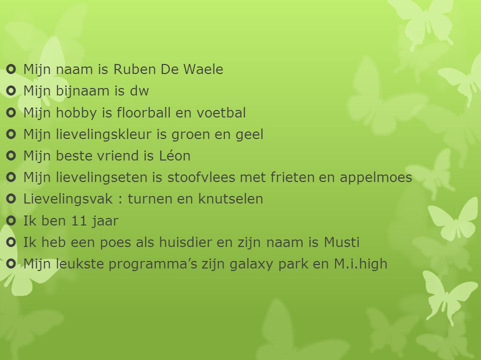 Mijn naam is Ruben De Waele