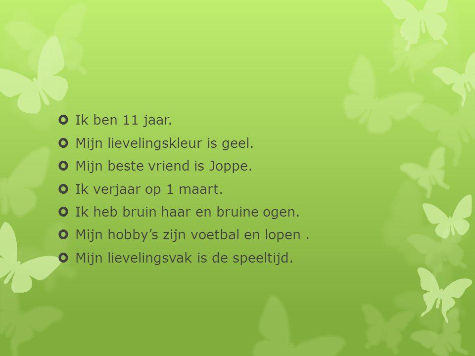Ik ben 11 jaar. Mijn lievelingskleur is geel. Mijn beste vriend is Joppe. Ik verjaar op 1 maart. Ik heb bruin haar en bruine ogen.