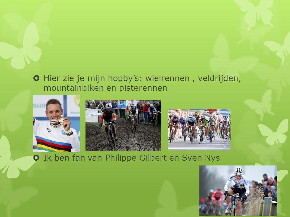 Hier zie je mijn hobby's: wielrennen , veldrijden, mountainbiken en pisterennen