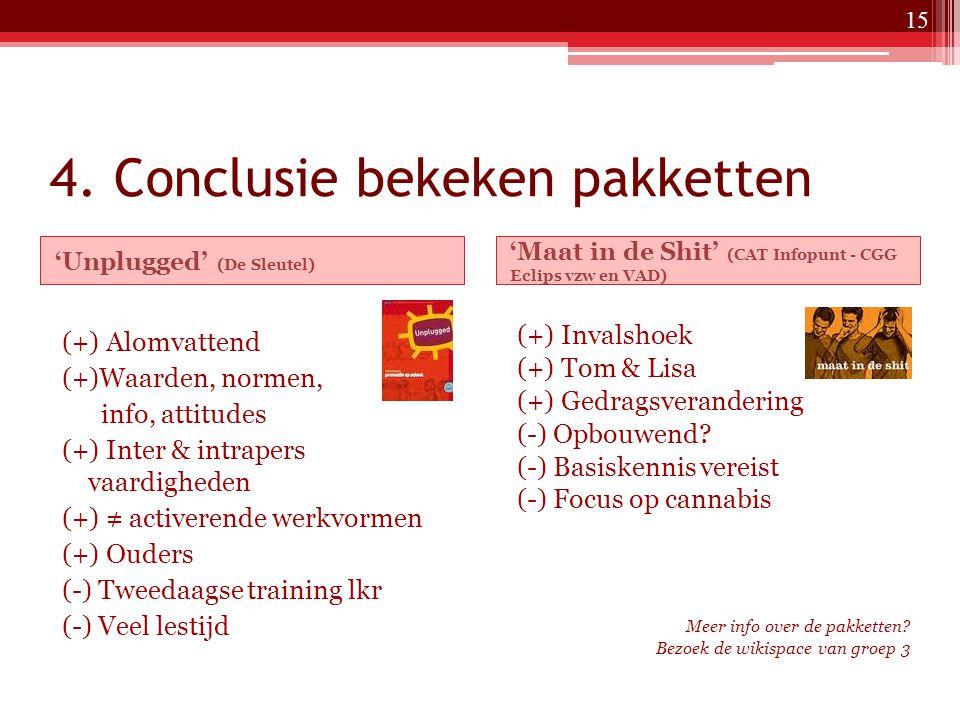 4. Conclusie bekeken pakketten