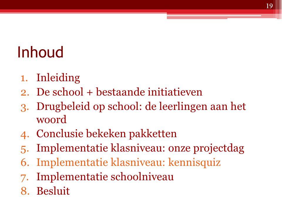 Inhoud Inleiding De school + bestaande initiatieven