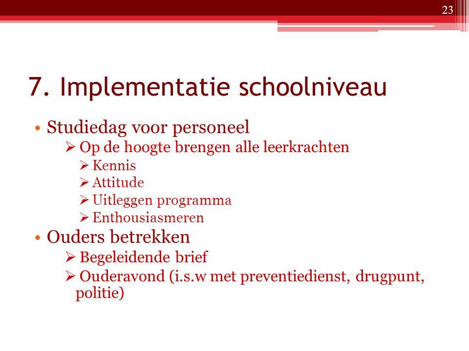 7. Implementatie schoolniveau