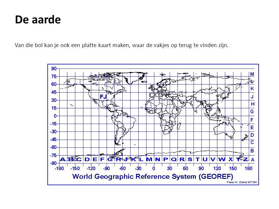 De aarde Van die bol kan je ook een platte kaart maken, waar de vakjes op terug te vinden zijn.