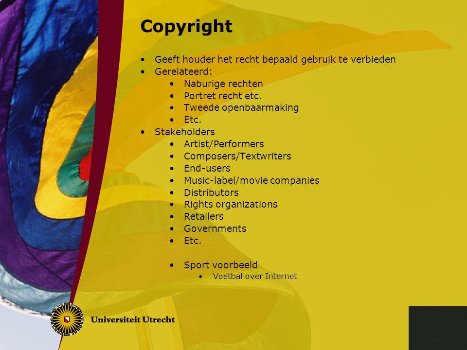 Copyright Geeft houder het recht bepaald gebruik te verbieden