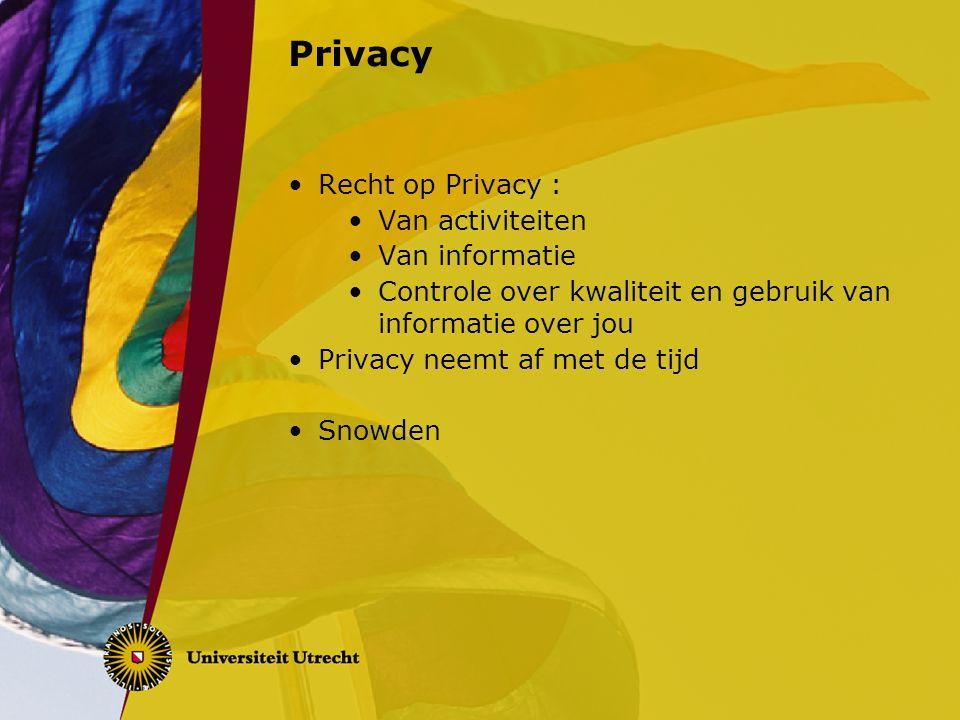 Privacy Recht op Privacy : Van activiteiten Van informatie
