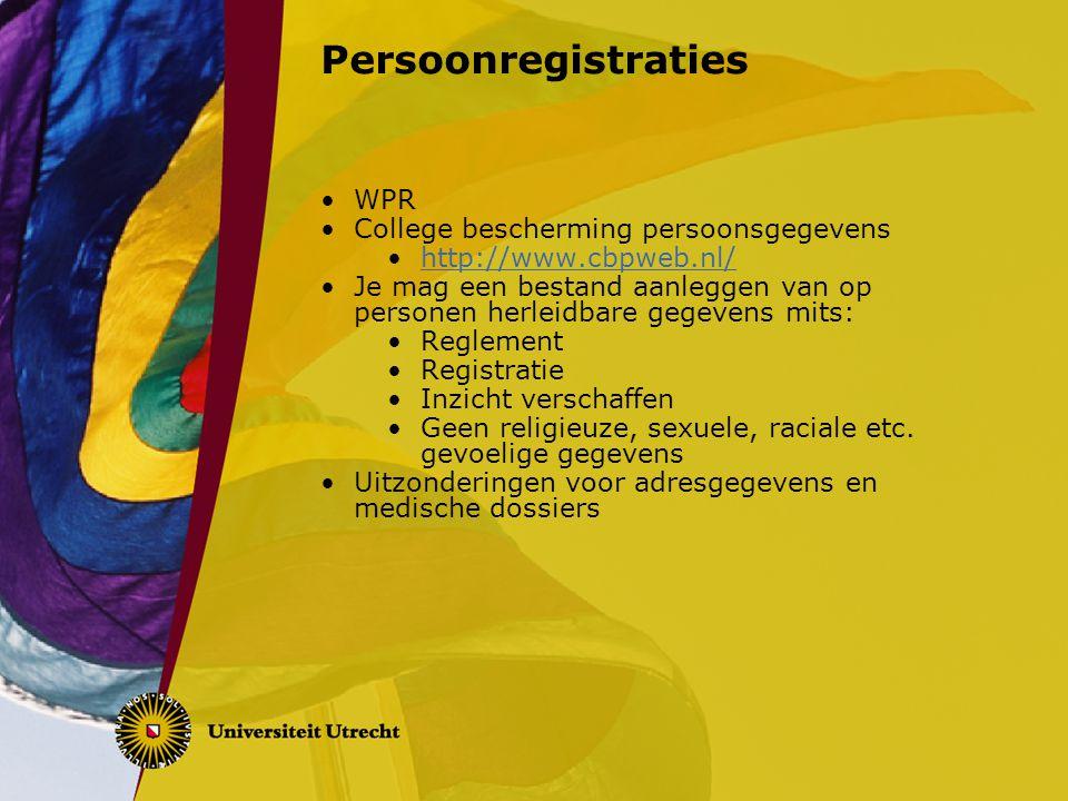Persoonregistraties WPR College bescherming persoonsgegevens
