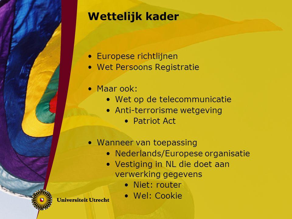 Wettelijk kader Europese richtlijnen Wet Persoons Registratie