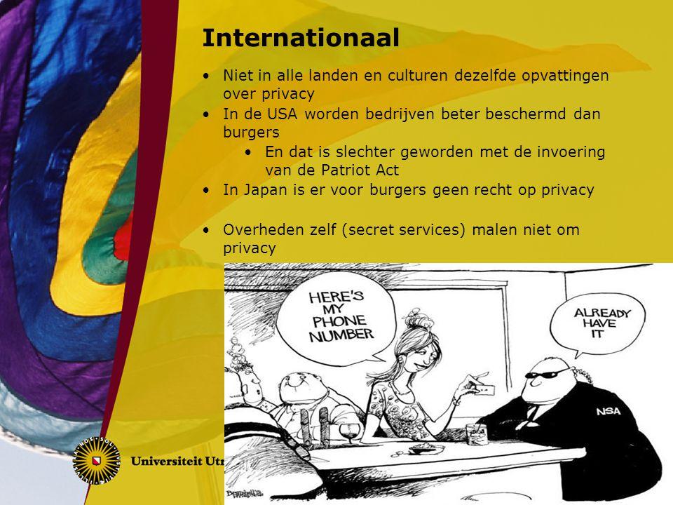Internationaal Niet in alle landen en culturen dezelfde opvattingen over privacy. In de USA worden bedrijven beter beschermd dan burgers.